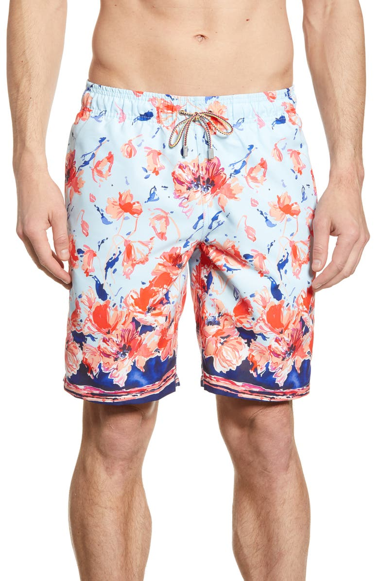 BUGATCHI Watercolor Floral Print Swim Trunks, Main, color, SKY