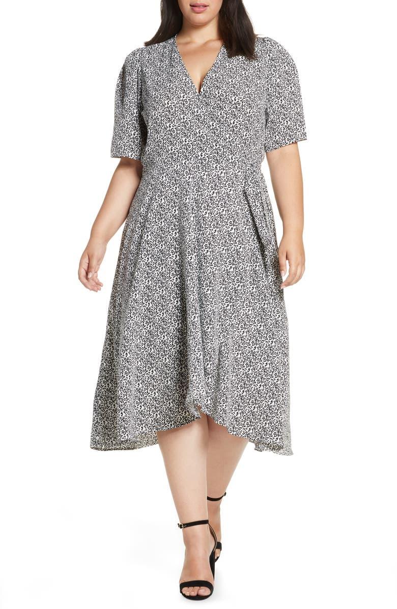 BOBEAU Liv Puff Sleeve Wrap Dress, Main, color, DITSY LEOPARD IVORY