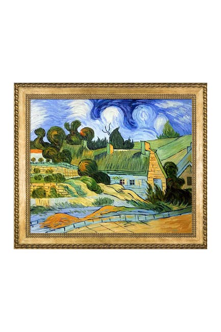 """Image of Overstock Art Thatched Houses in Cordville by Vincent Van Gogh Framed Hand Painted Oil Reproduction - 29"""" x 25"""""""