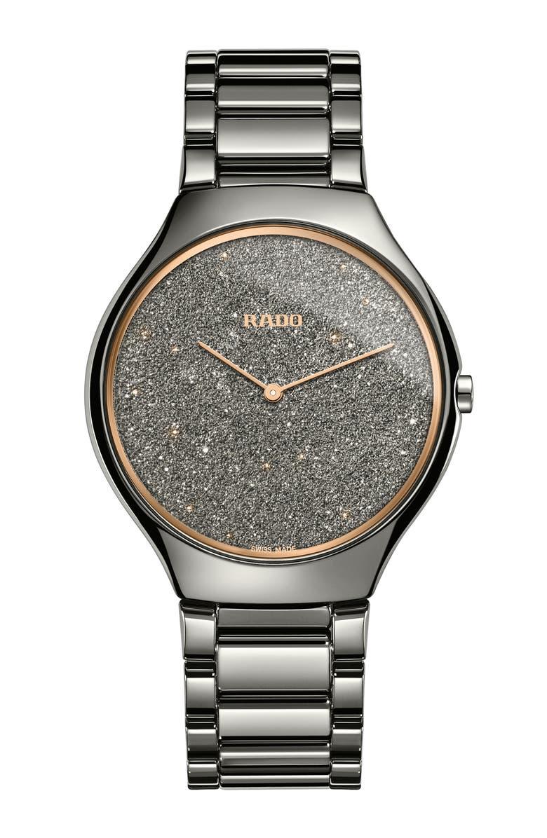 RADO True Bracelet Watch, 39mm, Main, color, GUNMETAL/ GREY/ ROSE GOLD