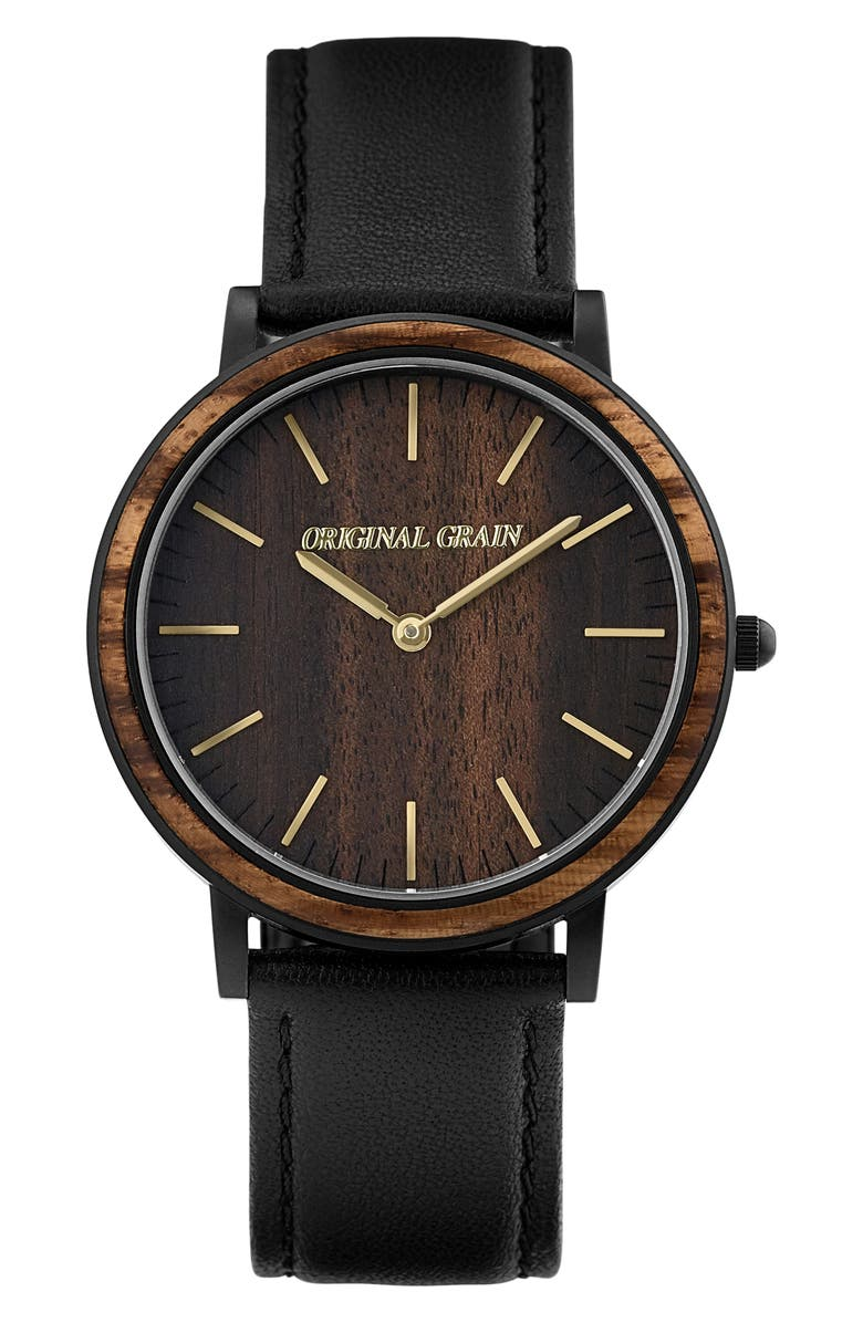 ORIGINAL GRAIN Minimalist Leather Strap Watch, 40mm, Main, color, 001