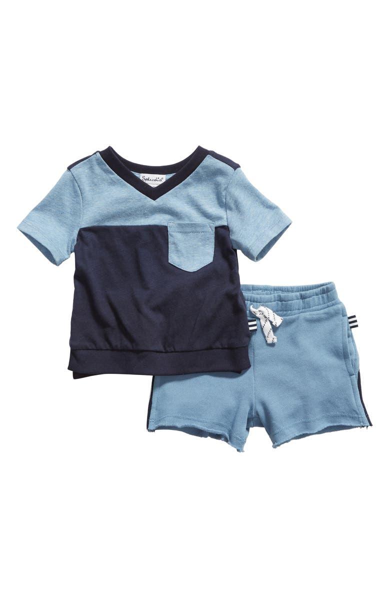 SPLENDID Colorblock T-Shirt & Drawstring Shorts Set, Main, color, 410