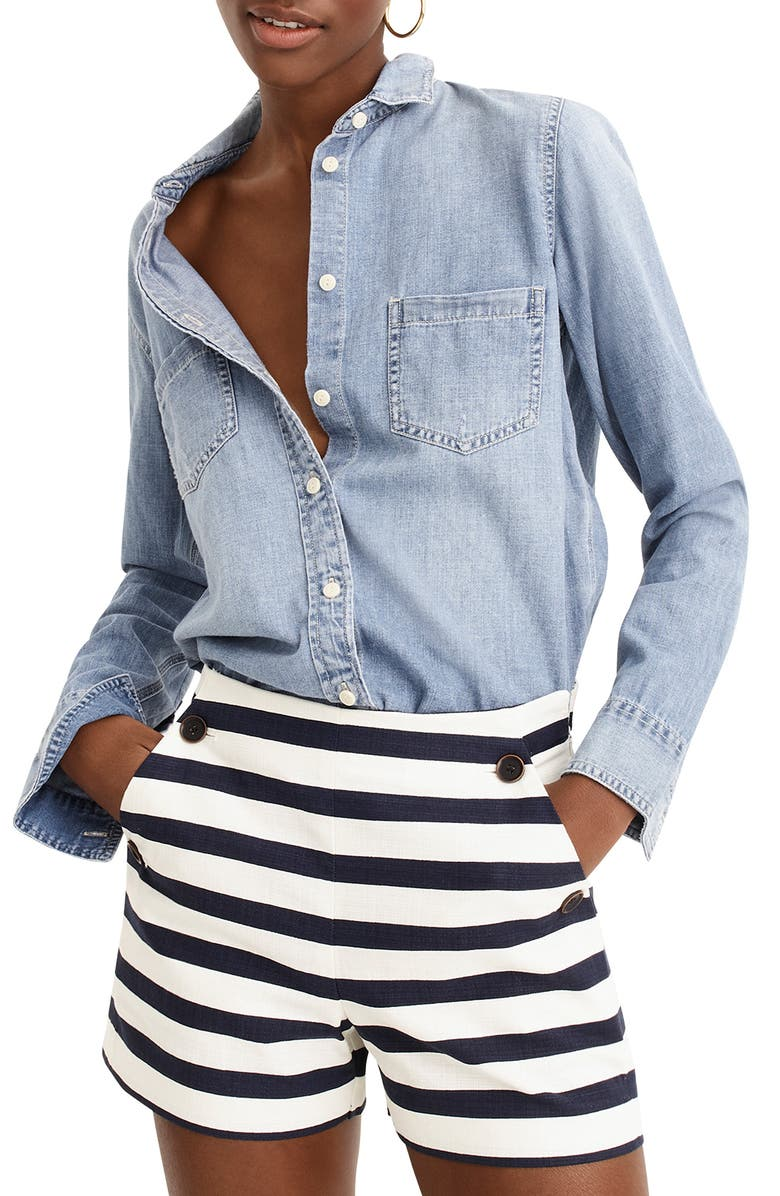 J.CREW Side Button Stretch Grasscloth Sailor Shorts, Main, color, SAILOR STRIPE NAVY IVORY