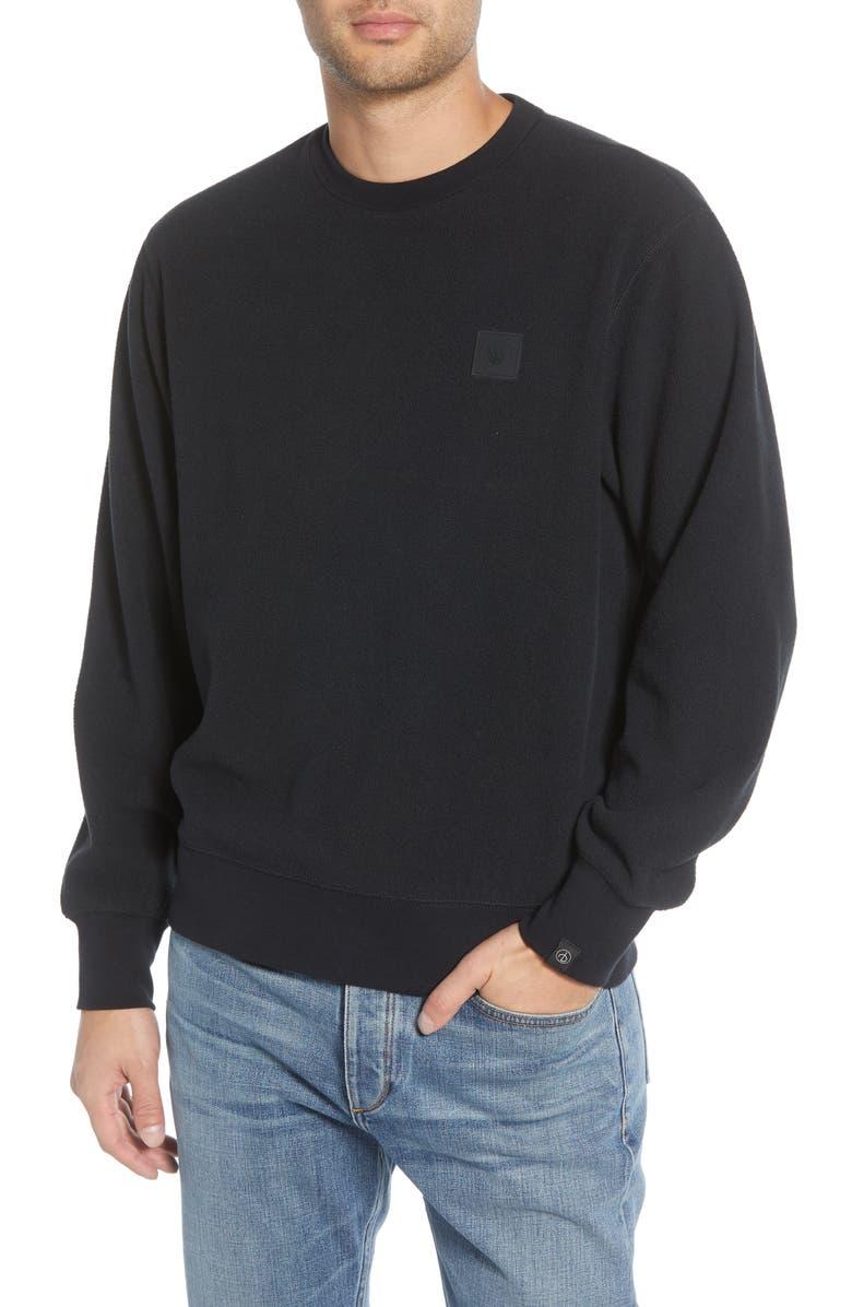 RAG & BONE Classic Fit Fleece Crewneck Sweatshirt, Main, color, BLACK