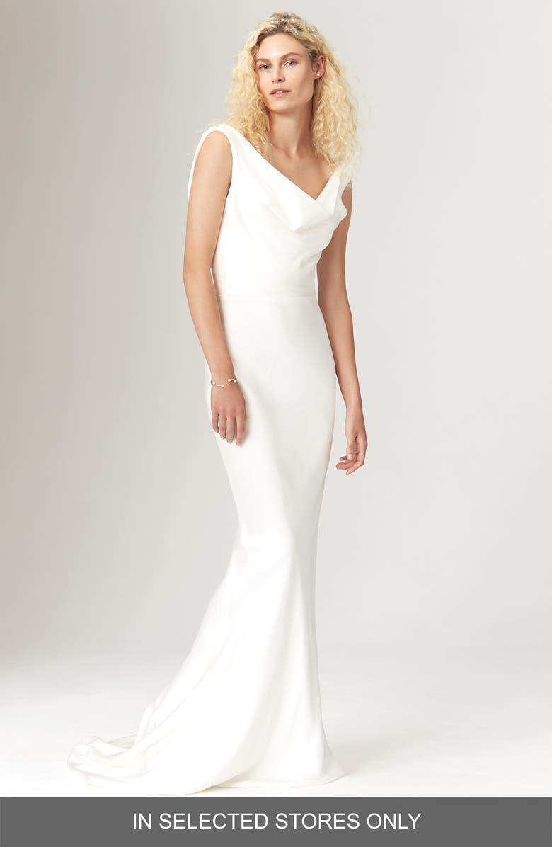 SAVANNAH MILLER Avalon Satin Cowl Neck Slip Dress, Main, color, IVORY