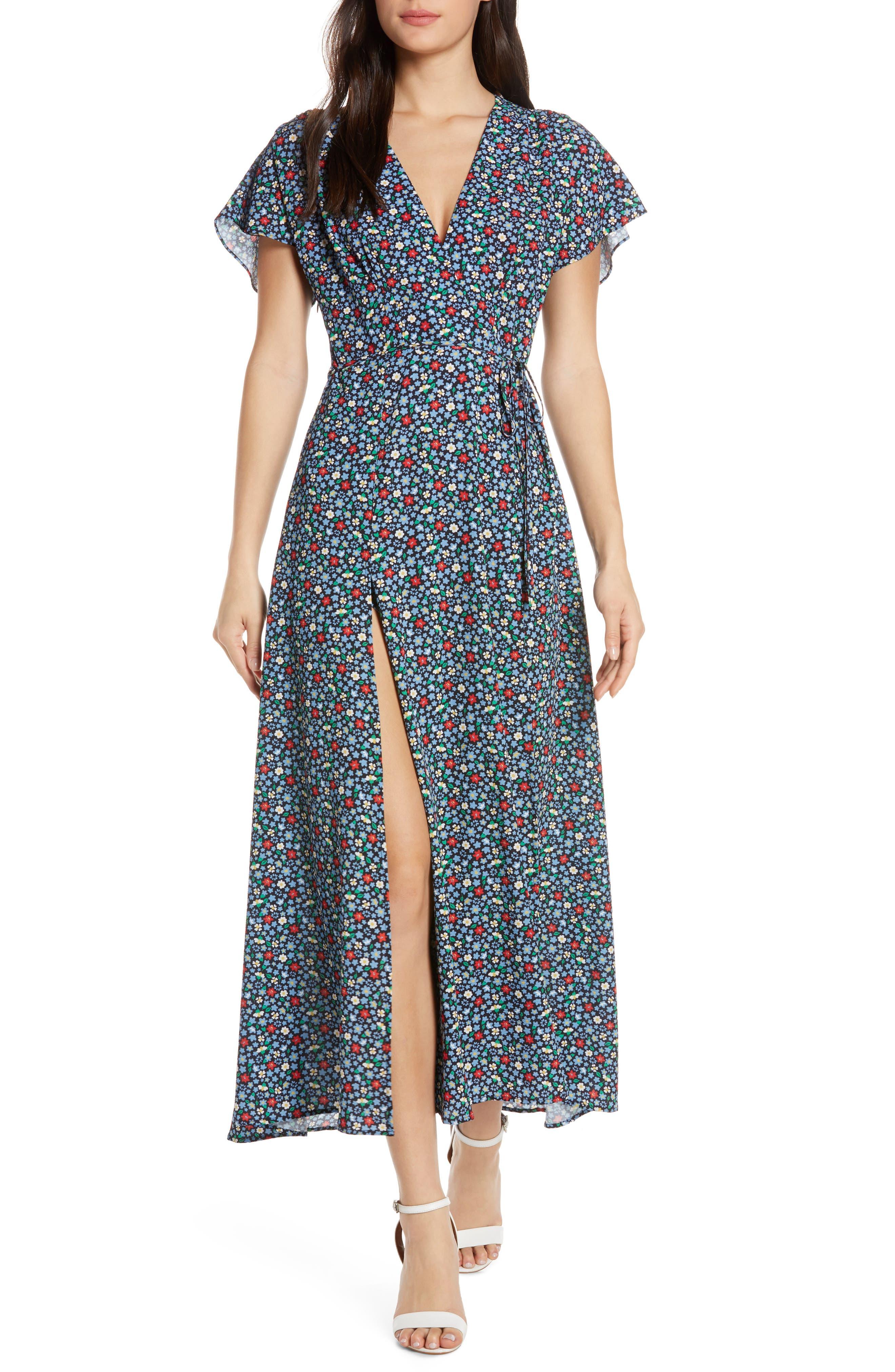 French Connection Eden Frances Drape Tea Length Dress, Blue