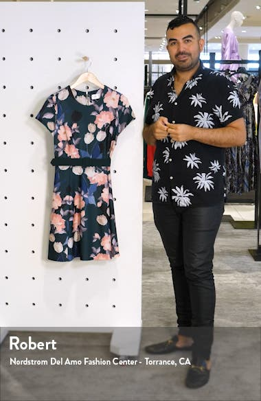 Floral Print Short Sleeve Fit & Flare Dress, sales video thumbnail