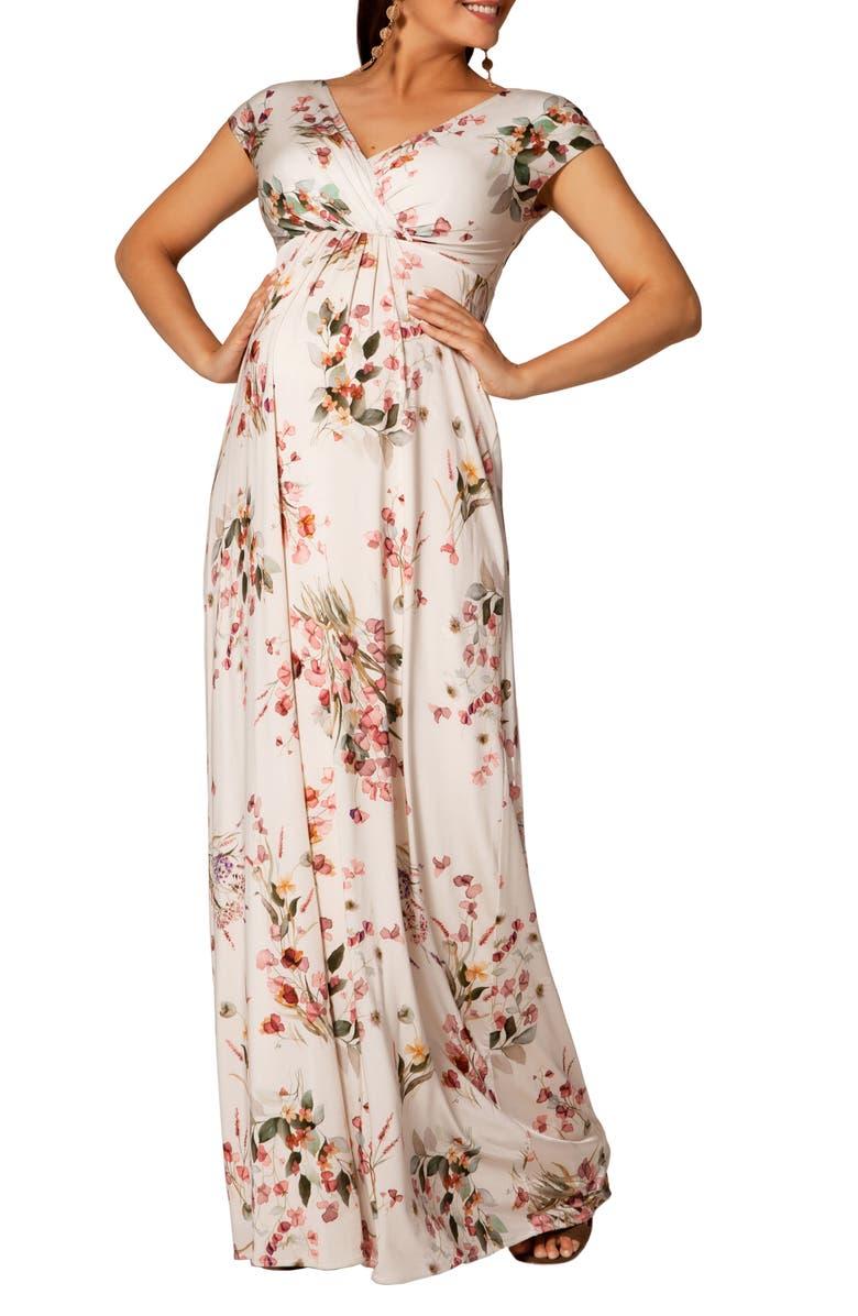 TIFFANY ROSE Francesca Maxi Maternity Dress, Main, color, PETAL PINK FLORAL