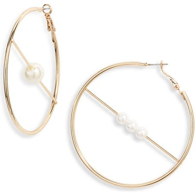 Ettika Mismatched Imitation Pearl Hoop Earrings