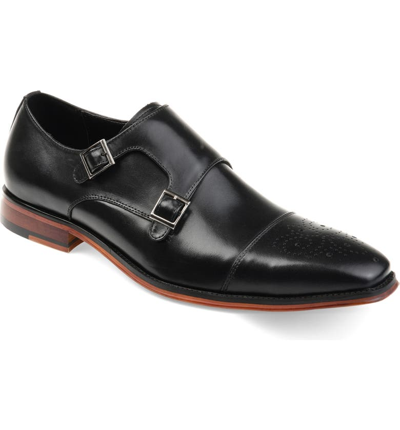 THOMAS & VINE Rockwell Double Strap Cap Toe Monk Shoe, Main, color, BLACK LEATHER