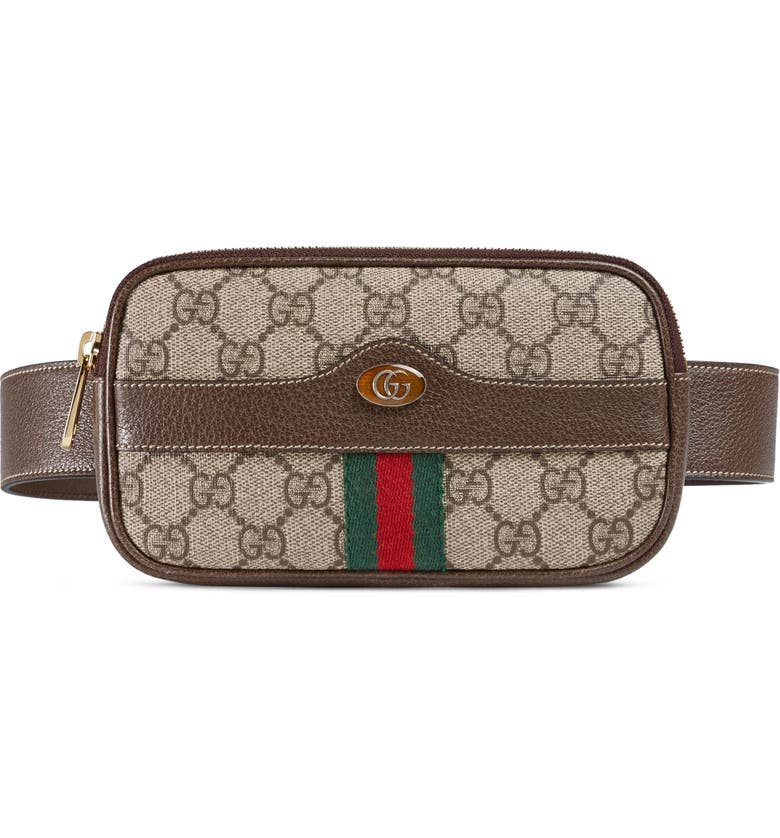 GUCCI Ophidia GG Supreme Small Canvas Belt Bag, Main, color, BEIGE EBONY/ ACERO/ VERT RED