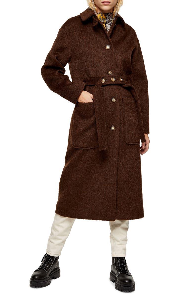 TOPSHOP Kia Brushed Wool Coat, Main, color, DARK BROWN