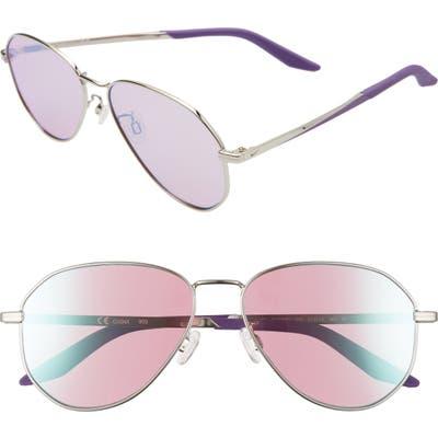 Nike Ascendant 57mm Mirrored Aviator Sunglasses - Silver/ Purple/ Dichro Mirr