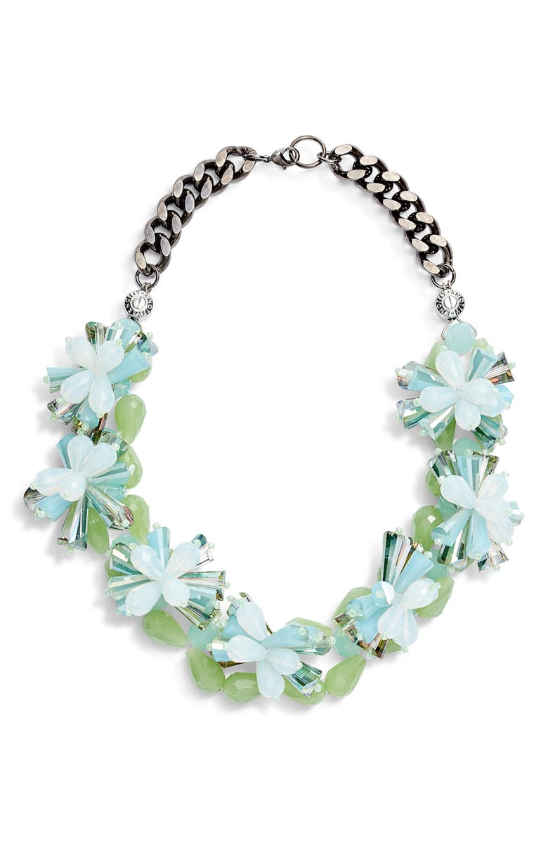 KNOTTY Floral Burst Necklace, Main, color, BLUE GREEN
