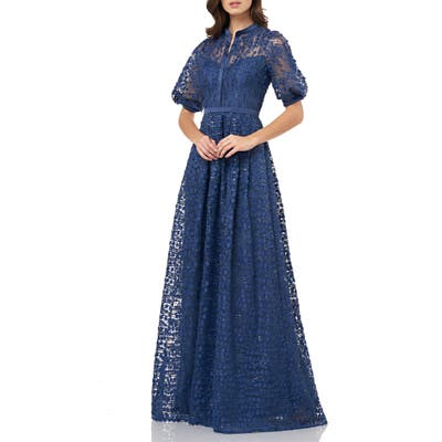 Carmen Marc Valvo Infusion 3D Mesh Gown, Blue
