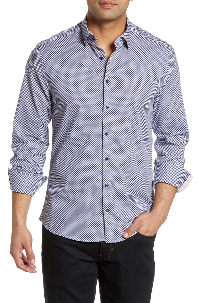 STONE ROSE Regular Fit Dot Print Shirt, Main, color, NAVY