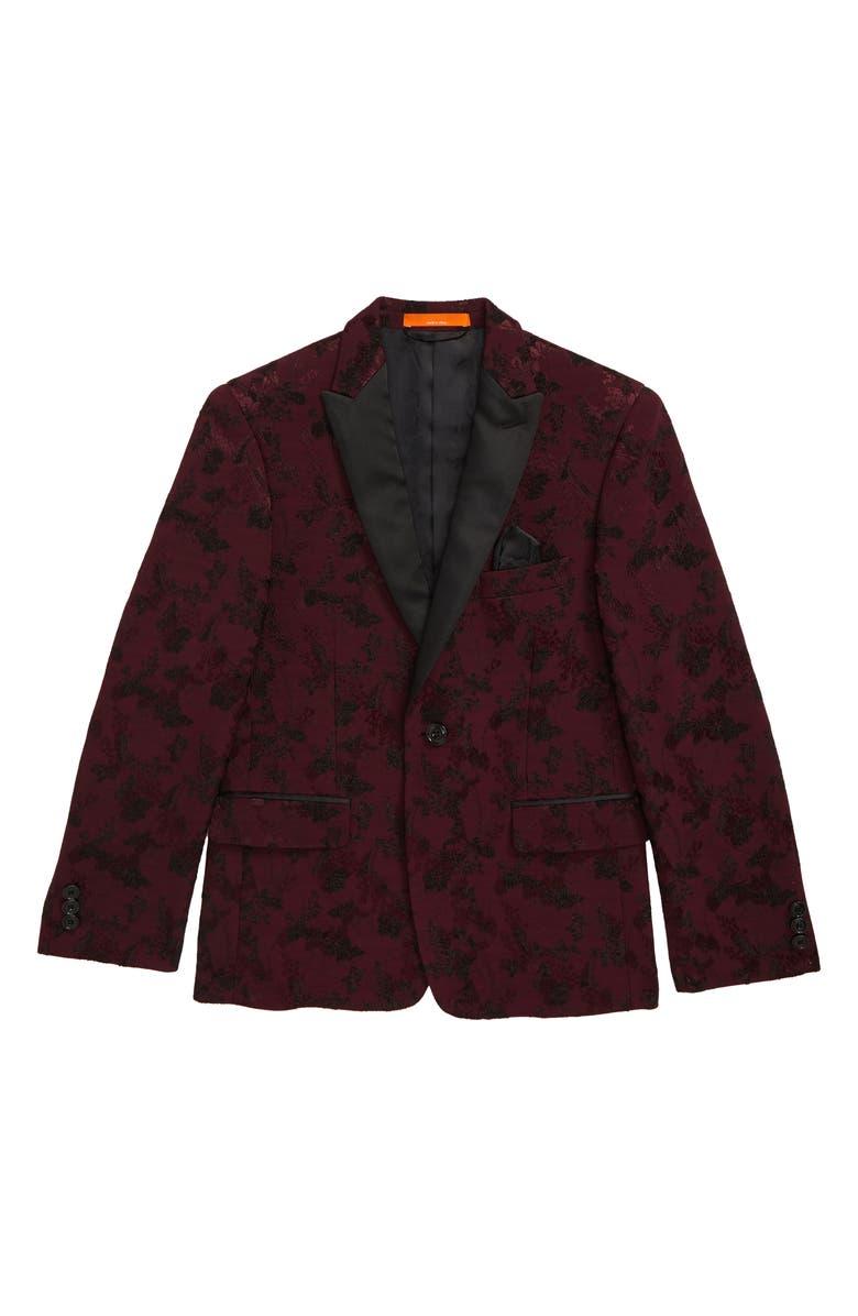 TALLIA Floral Jacquard Jacket, Main, color, PLUM