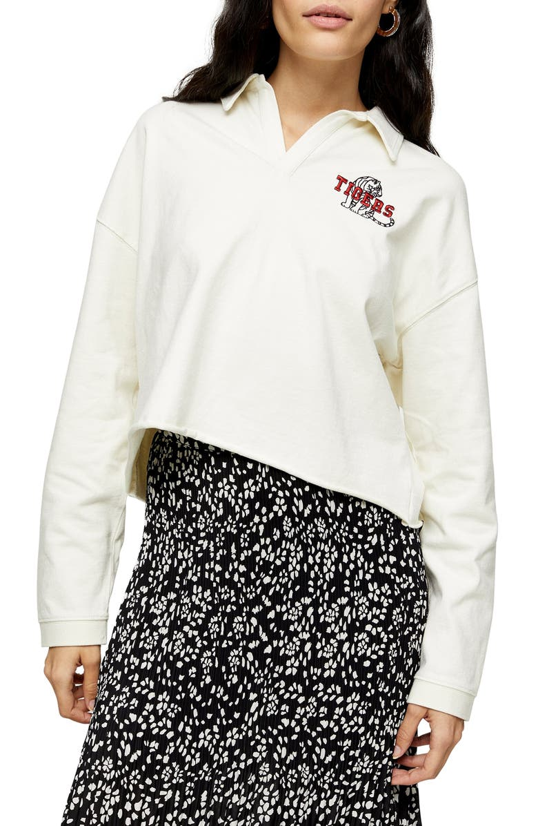 TOPSHOP Tigers Rugby Polo Shirt, Main, color, CREAM MULTI