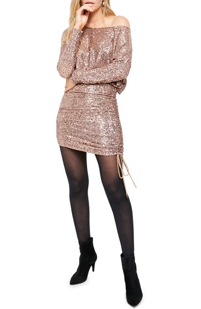 Free People Giselle Sequin Minidress In Rose Gold