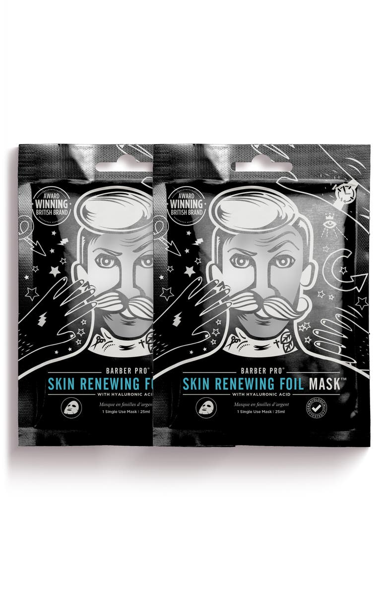 BARBER PRO Skin Renewing Foil Mask Duo, Main, color, NO COLOR
