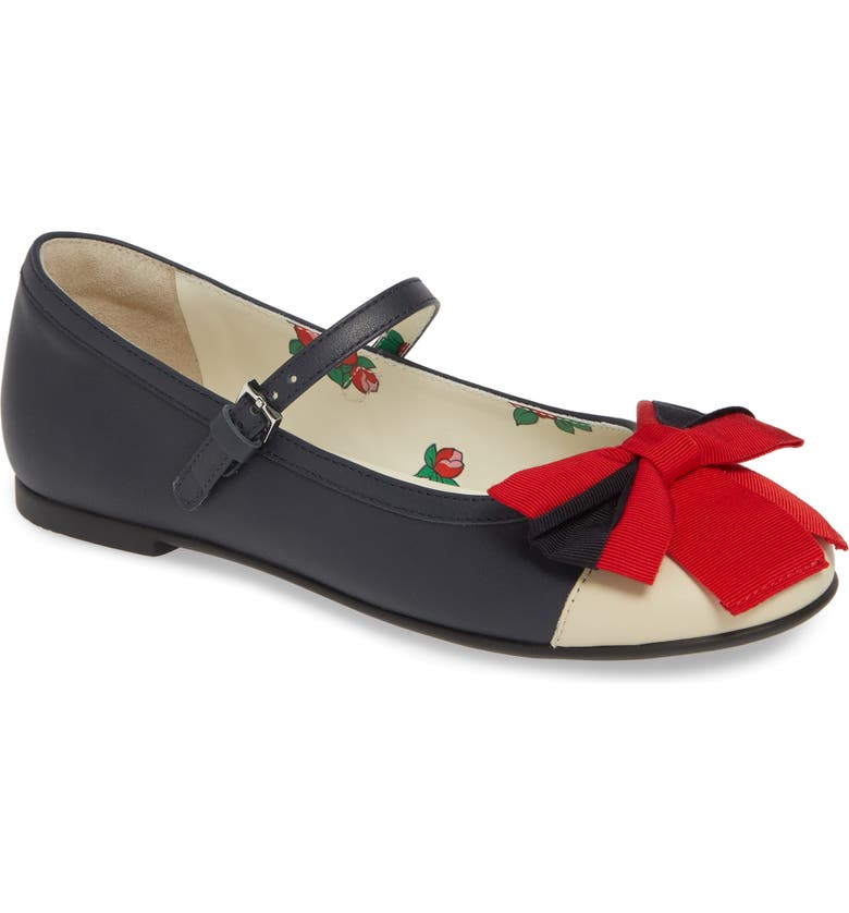 GUCCI Web Bow Mary Jane Flat, Main, color, BLUE/ RED/ WHITE