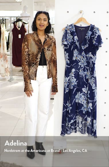 Ruffle Floral Wrap Dress, sales video thumbnail