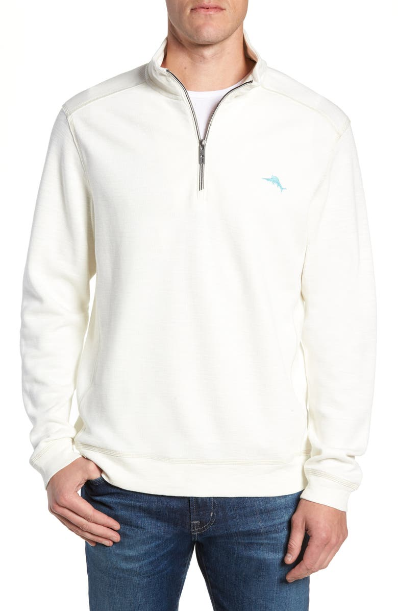 TOMMY BAHAMA Tobago Bay Half Zip Pullover, Main, color, COCONUT