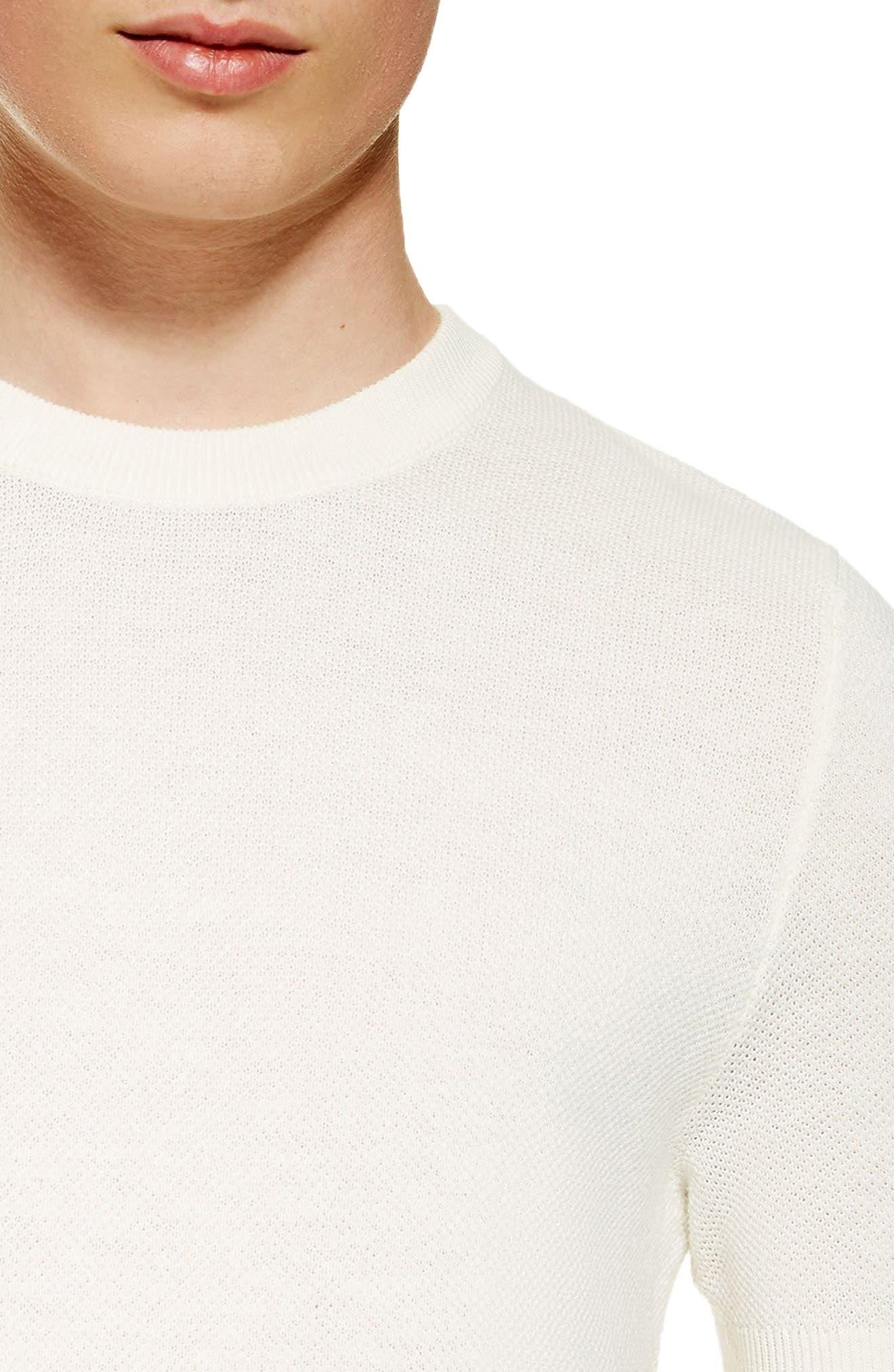 ,                             Piqué Knit Sweater T-Shirt,                             Alternate thumbnail 3, color,                             WHITE