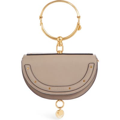 Chloe Small Nile Bracelet Calfskin Leather Minaudiere - Grey