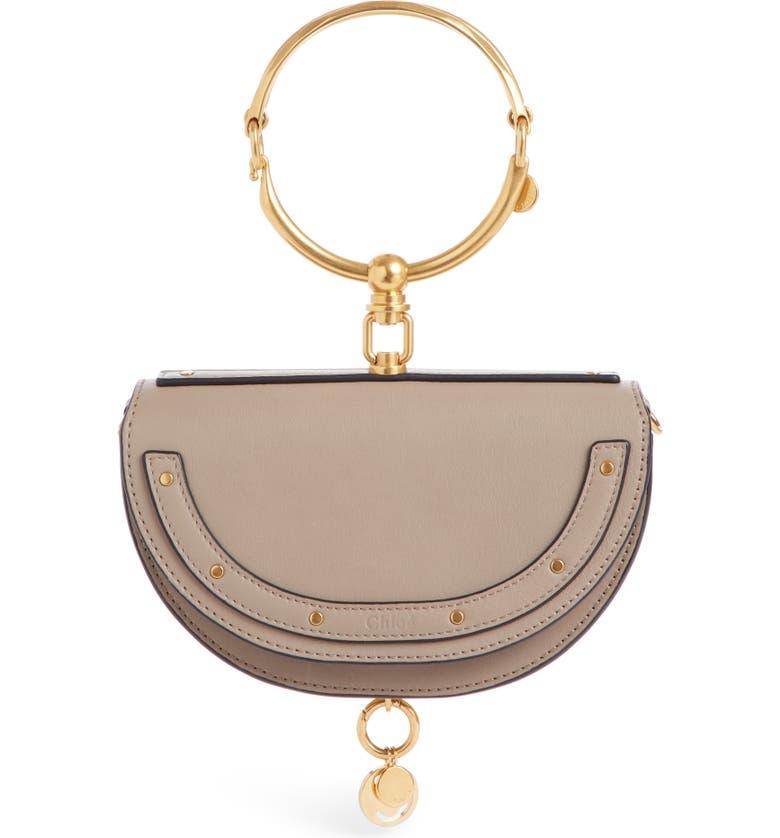 CHLOÉ Small Nile Bracelet Calfskin Leather Minaudiere, Main, color, MOTTY GREY