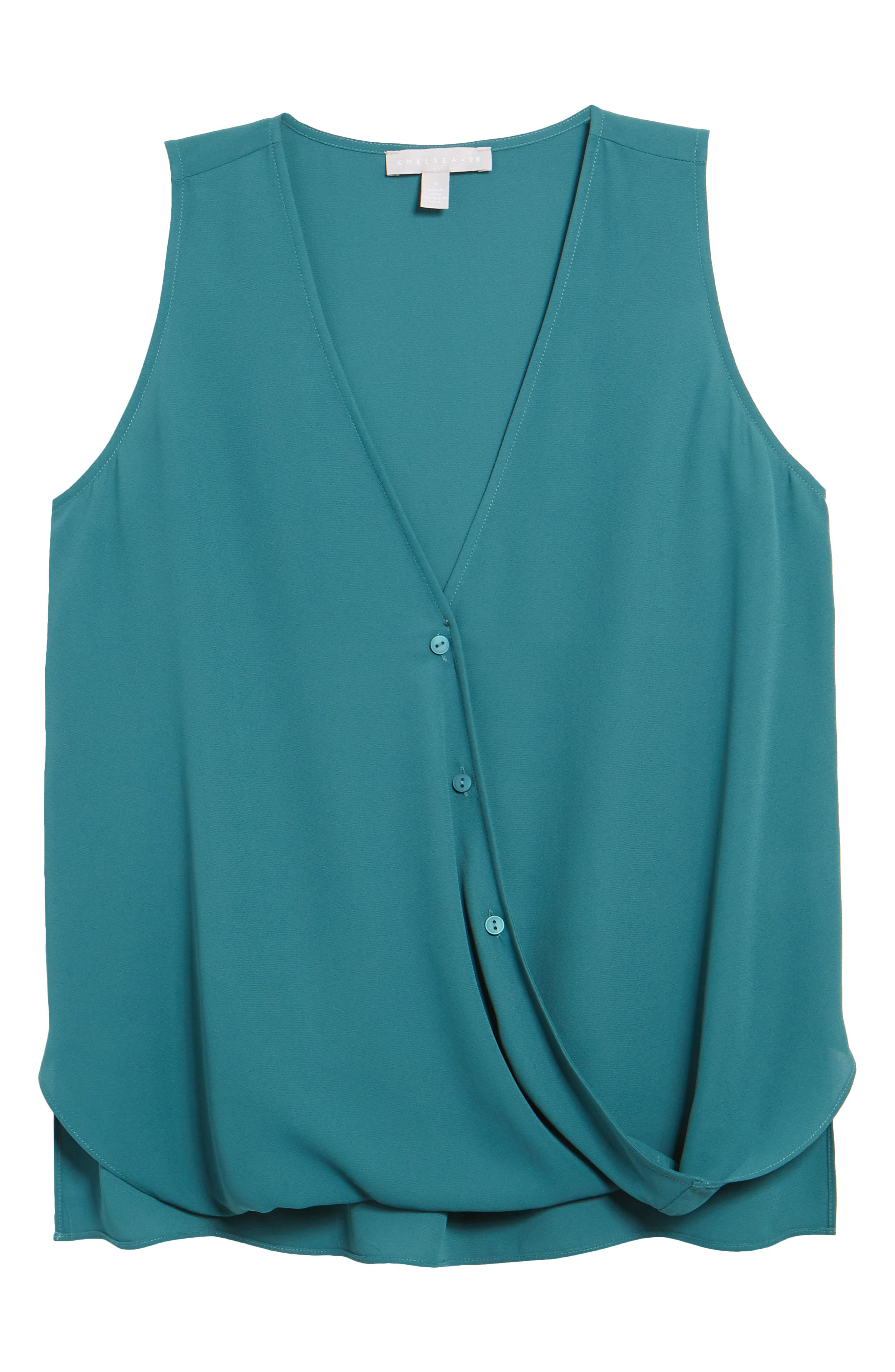 A button-closure surplice neckline begins a billowy sleeveless blouse that serves double-duty for work and play. Style Name: Chelsea28 Sleeveless Blouse. Style Number: 5943199. Available in stores.