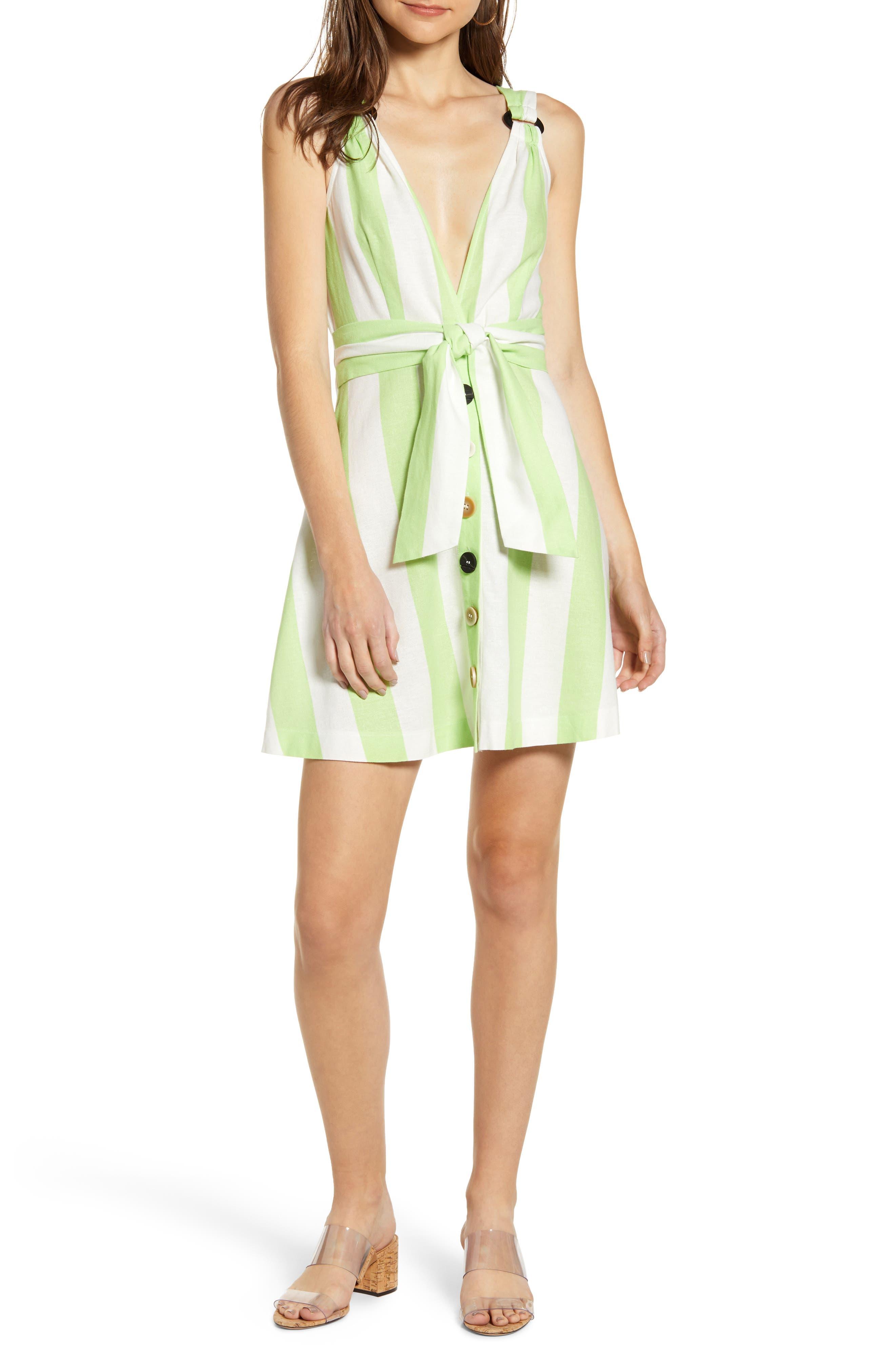 Moon River Tie Waist Button Up Minidress, Green