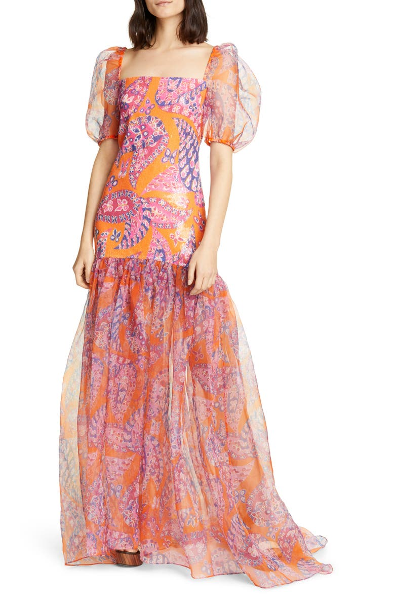 STAUD Wilde Sequin Butterfly Paisley Print Maxi Dress, Main, color, 801