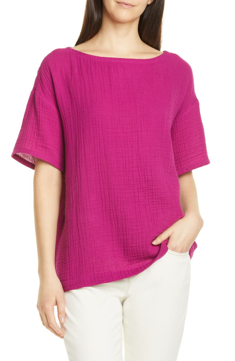 EILEEN FISHER Boat Neck Boxy Organic Cotton Top, Main, color, 664