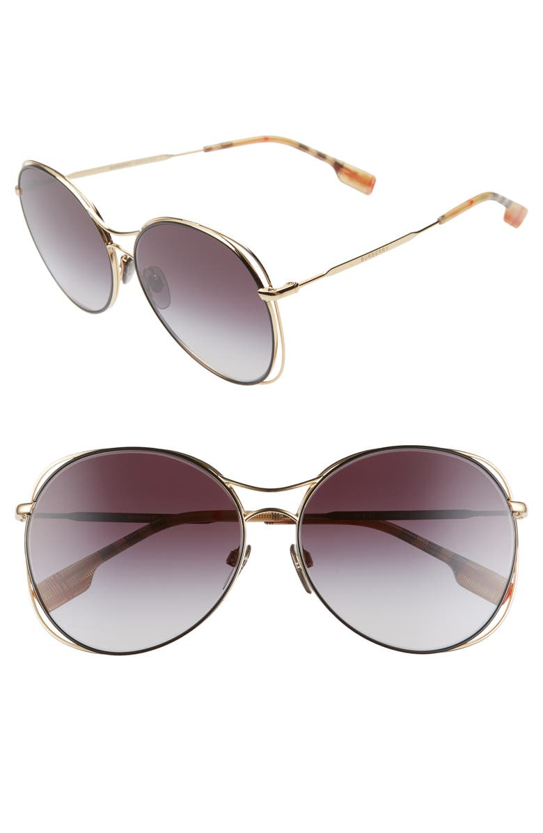BURBERRY 60mm Gradient Round Sunglasses, Main, color, 710