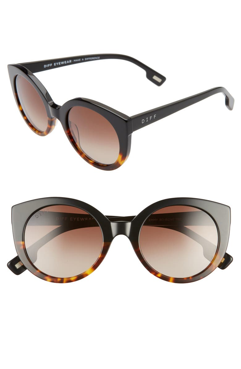 DIFF Emmy 50mm Cat Eye Sunglasses, Main, color, BLACK TO TORTOISE/ BROWN