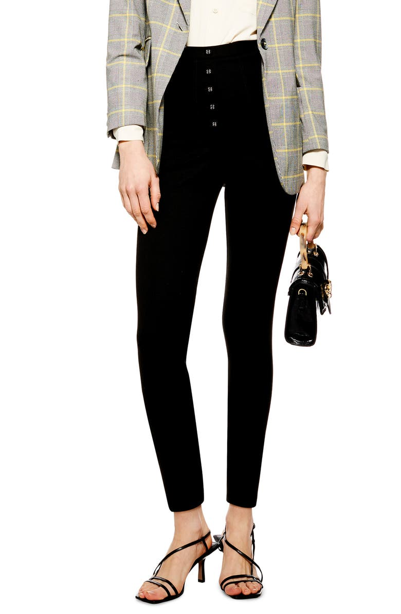 TOPSHOP Skinny Capri Trousers, Main, color, BLACK