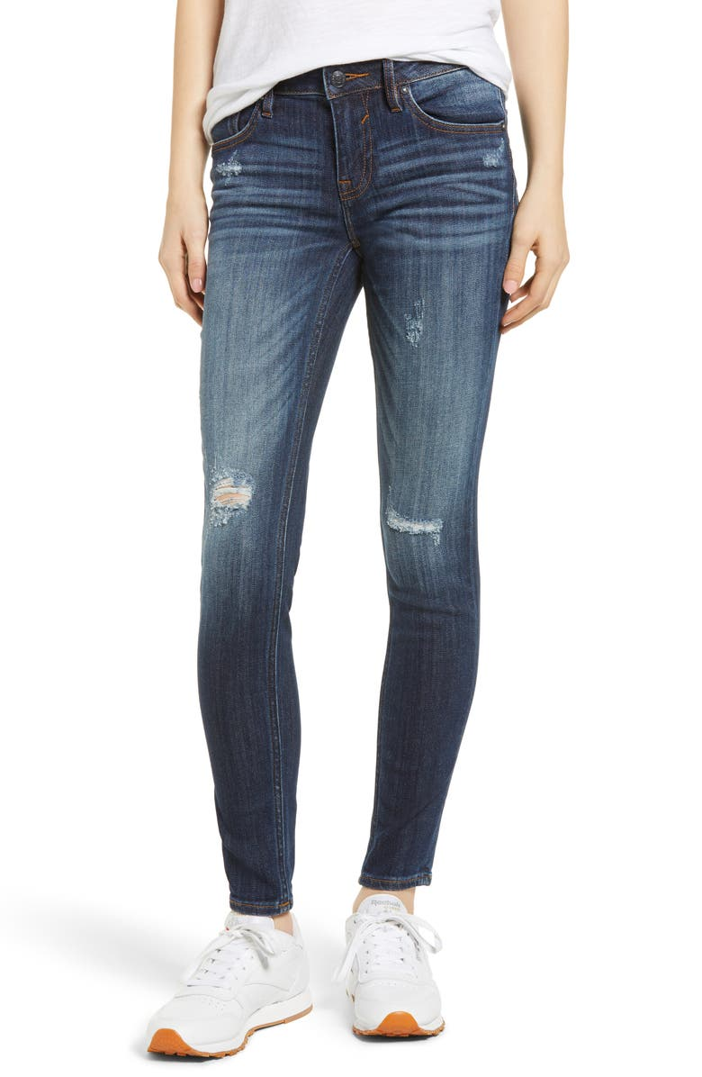VIGOSS Jagger Ripped Skinny Jeans, Main, color, DARK WASH