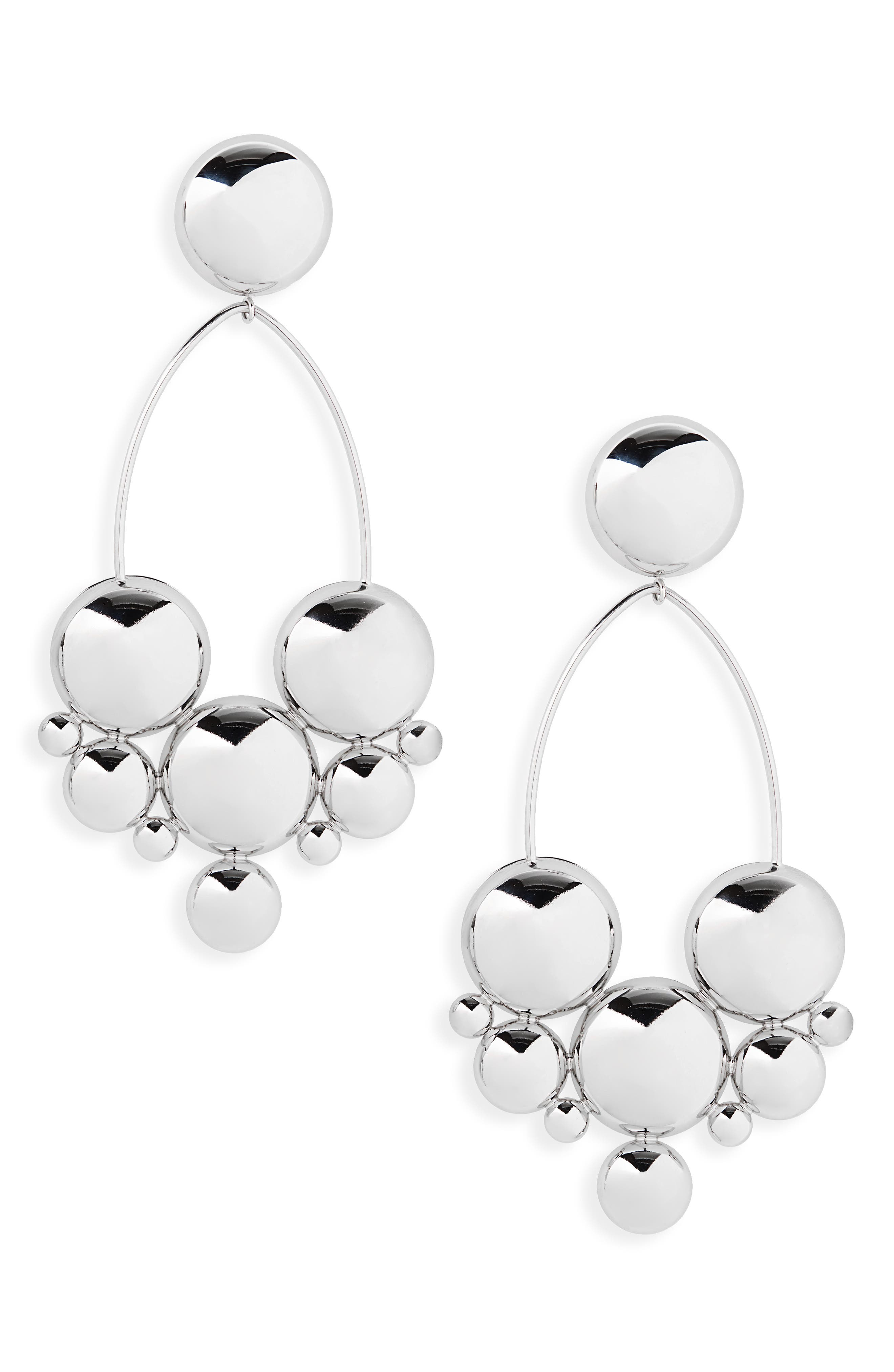Boo Large Drop Earrings, Main, color, SILVER