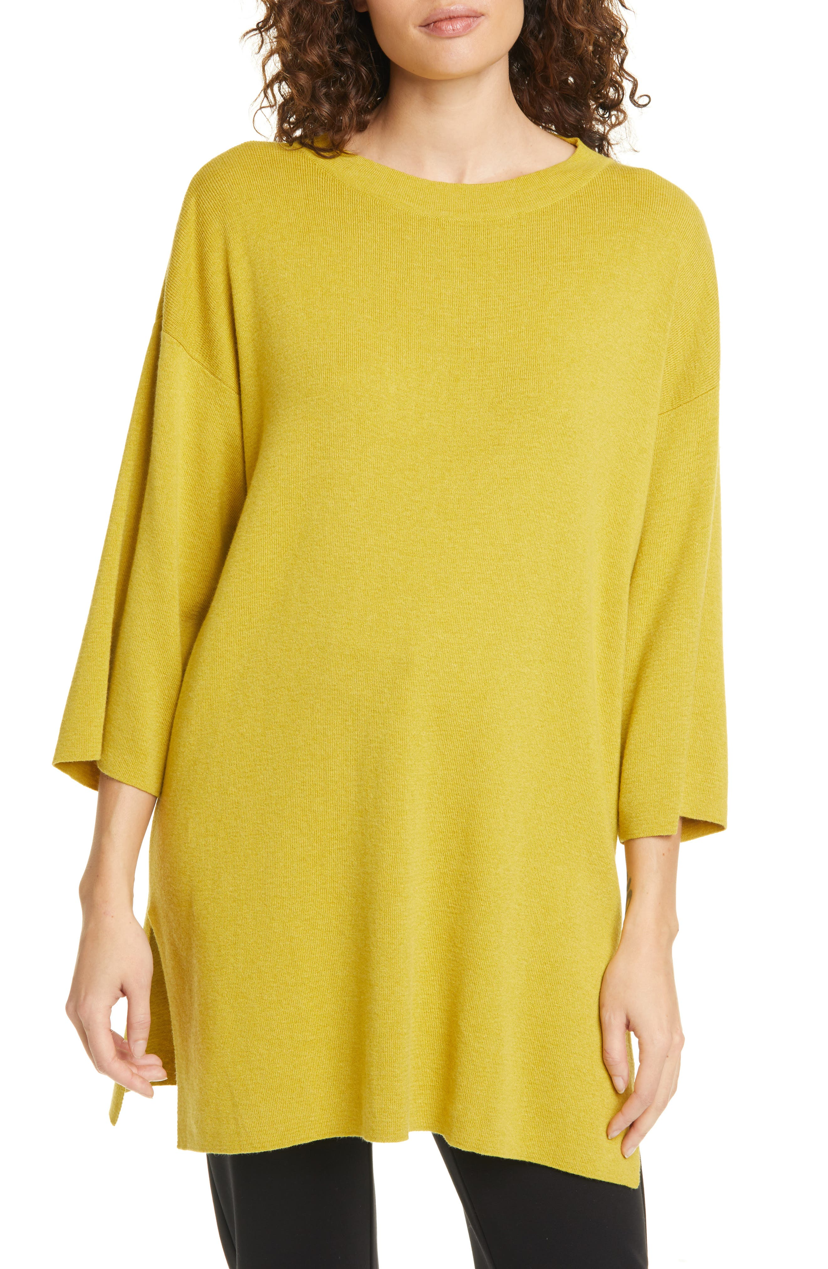 Image of Eileen Fisher ROUND NECK 3/4 SLV TUNIC