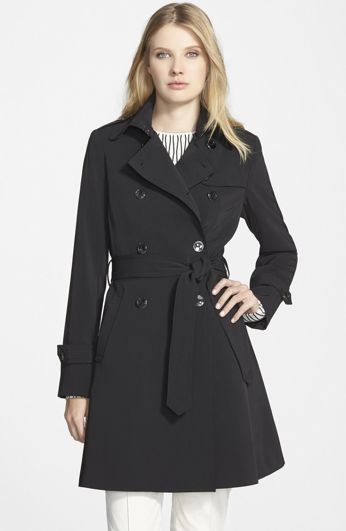 ,                             'Juliette' Double Breasted Skirted Trench Coat,                             Main thumbnail 1, color,                             001