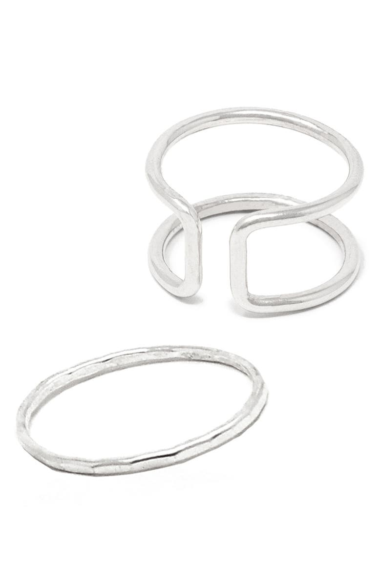 ABLE Set ot 2 Cuff Ring & Stacker Stacking Ring, Main, color, SILVER