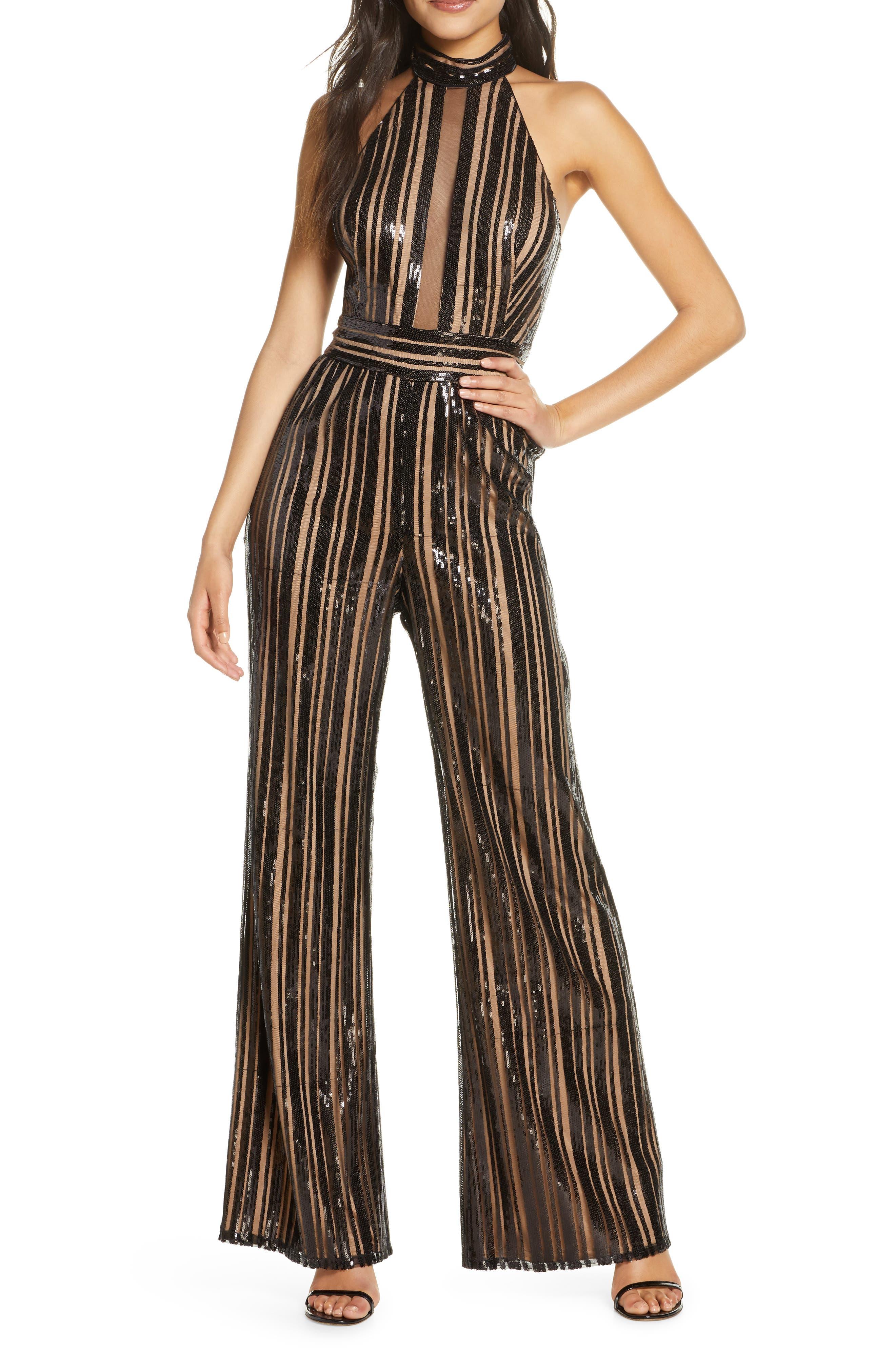 70s Jumpsuit | Disco Jumpsuits, Sequin Rompers Womens Sho Sequin Stripe Sleeveless Jumpsuit $288.00 AT vintagedancer.com