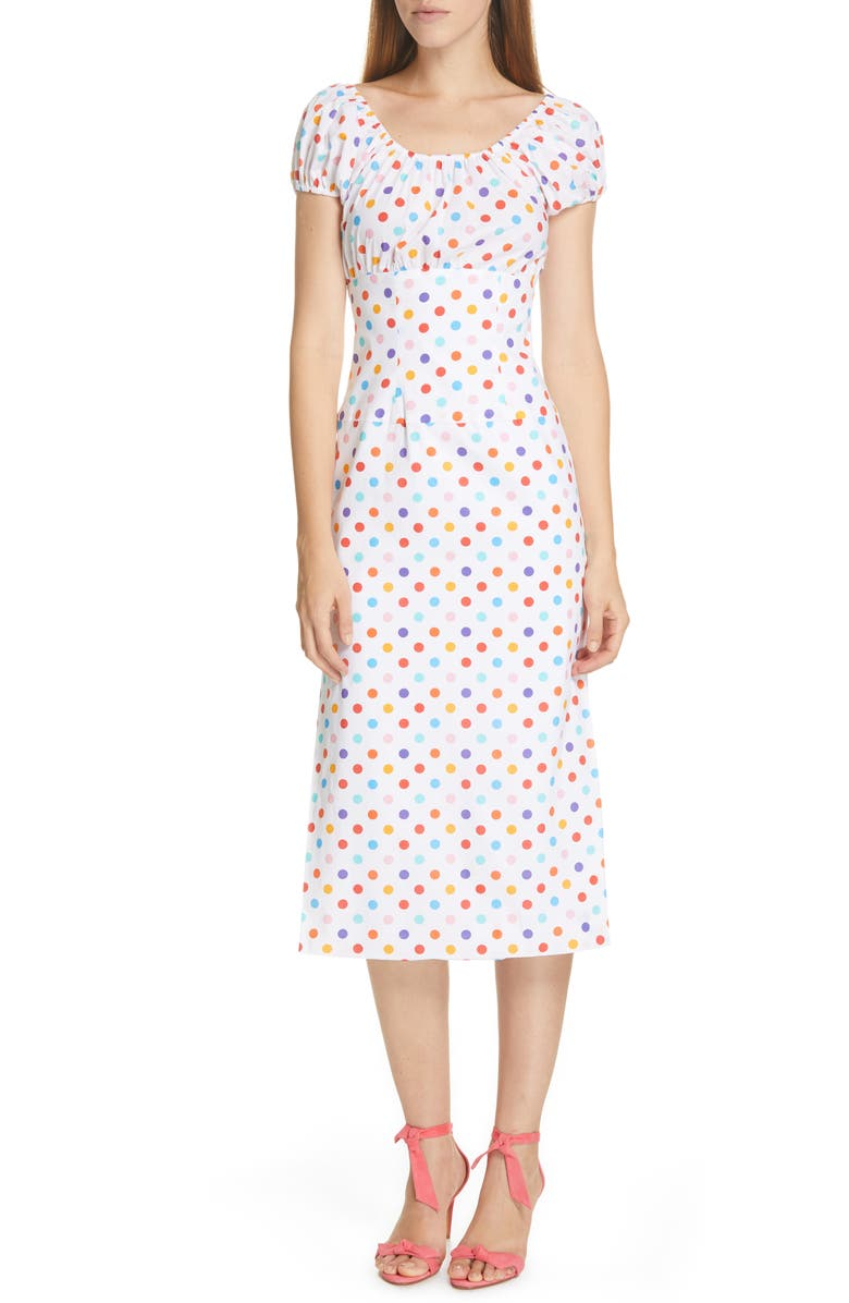 CAROLINE CONSTAS Calla Polka Dot Stretch Silk Dress, Main, color, 100
