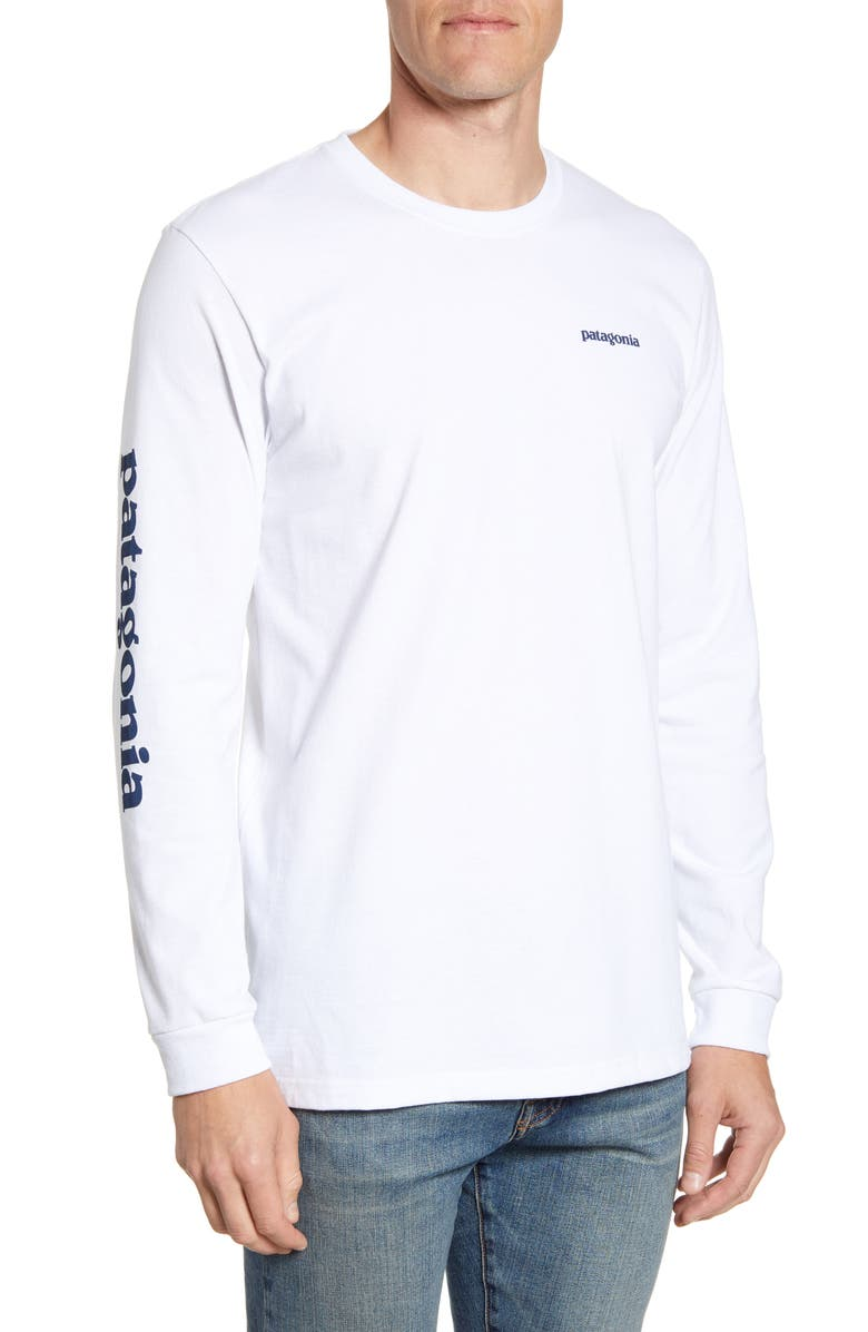 PATAGONIA Long Sleeve Logo T-Shirt, Main, color, WHITE/ STONE BLUE