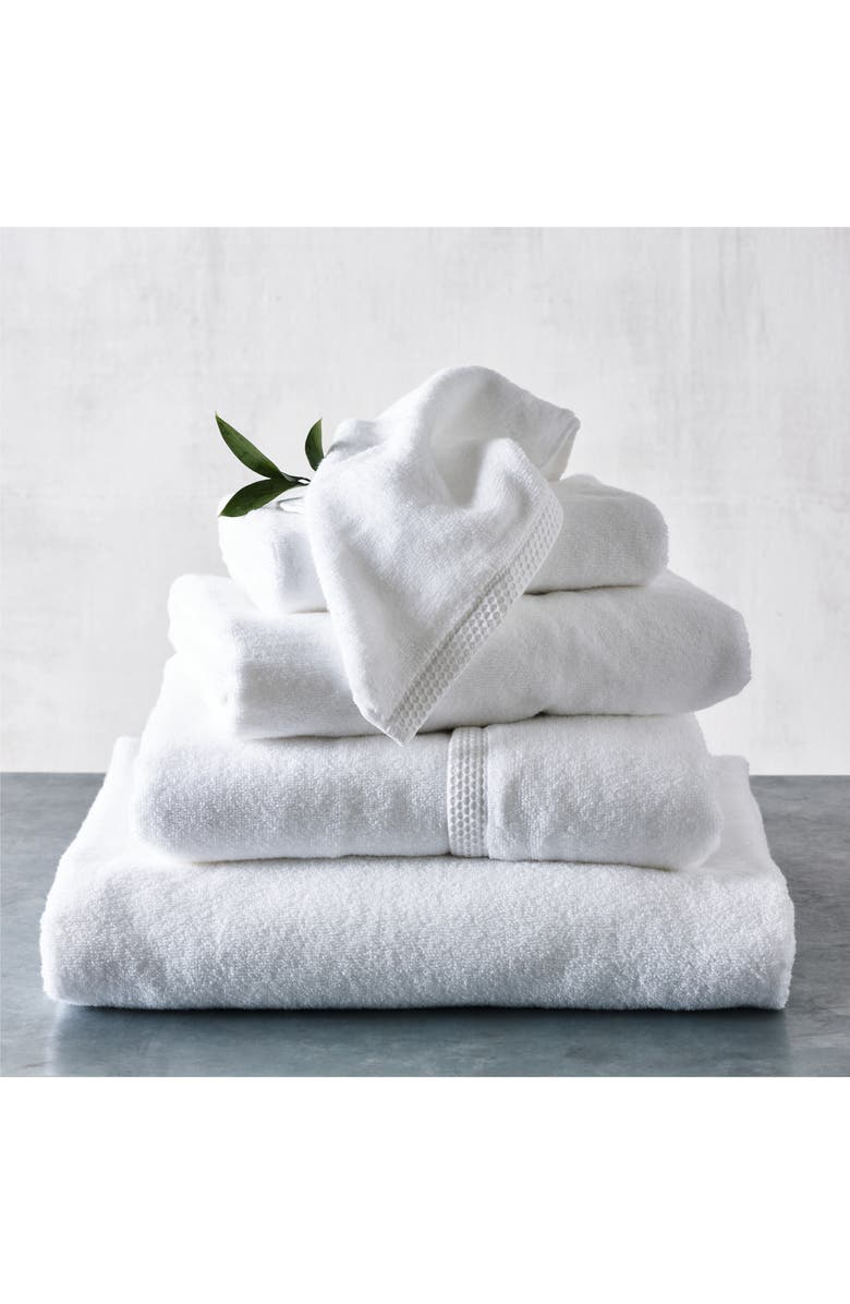 THE WHITE COMPANY Waffle Edge Hand Towel, Main, color, WHITE