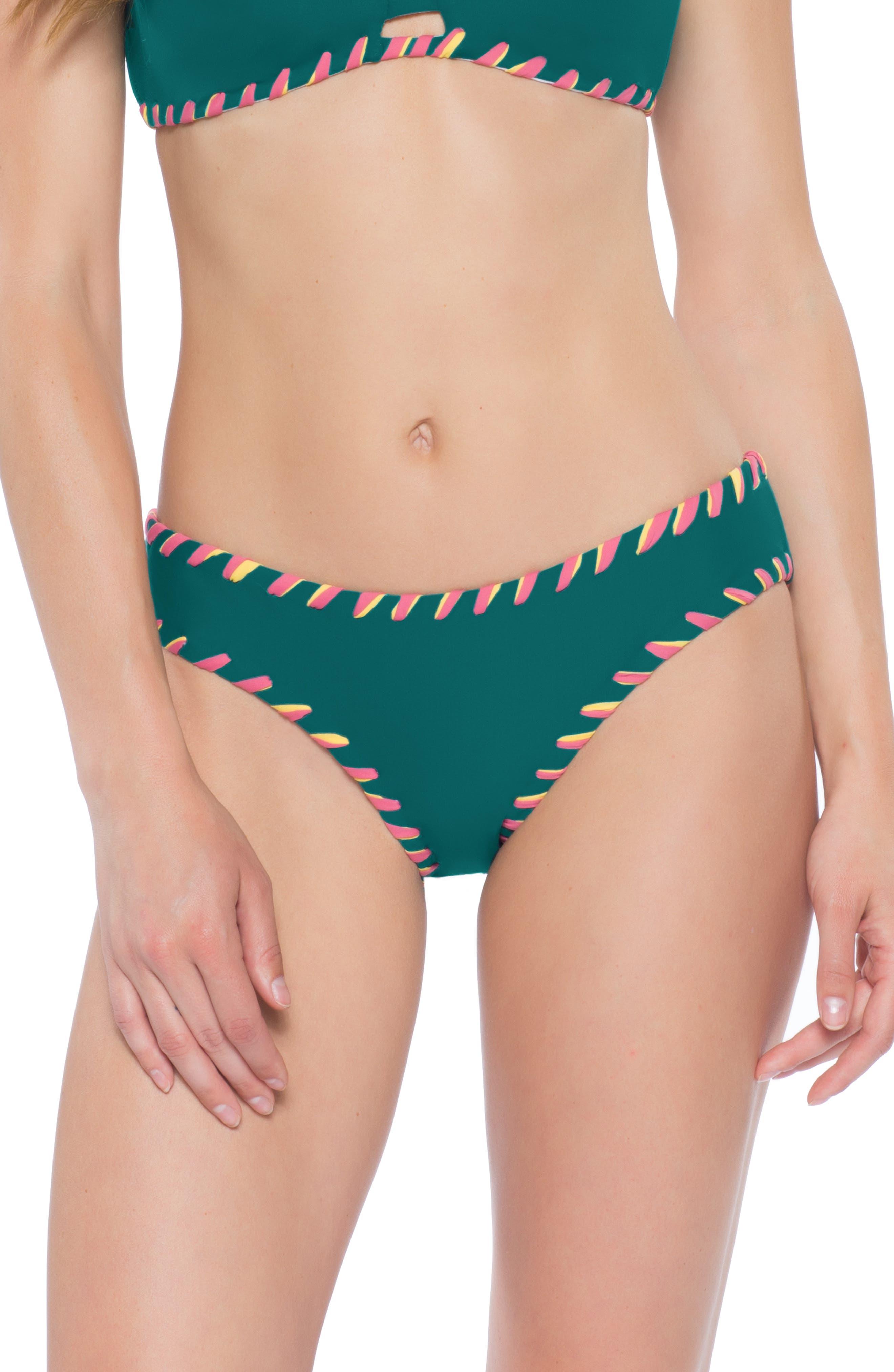 Becca Camille Reversible Bikini Bottoms, Green