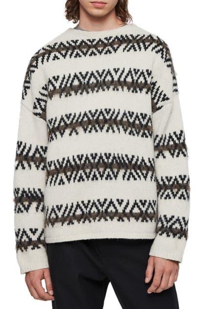 Allsaints Orvik Fair Isle Wool Blend Sweater In Ecru/ Black