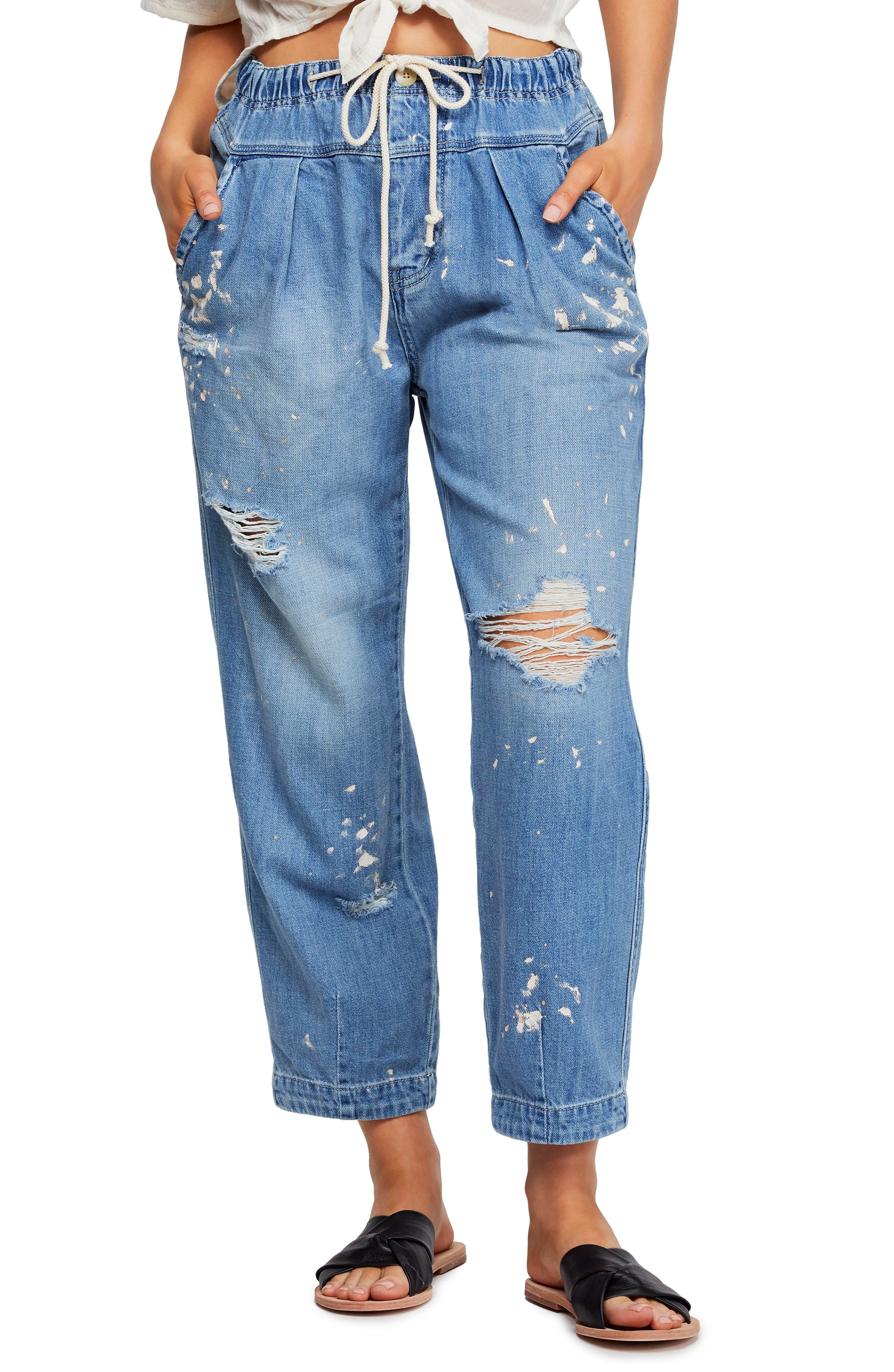 ,                             Ripped Straight Leg Jeans,                             Main thumbnail 1, color,                             400