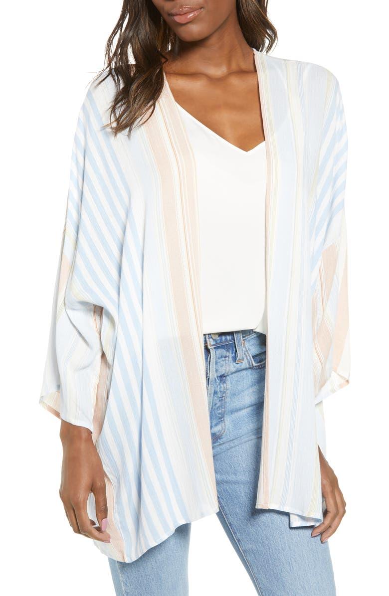 BISHOP + YOUNG Serenity Stripe Crepe Jacket, Main, color, BLUE ORANGE STRIPE